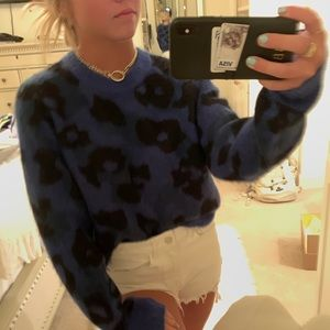 Rag and bone blue cheetah sweater